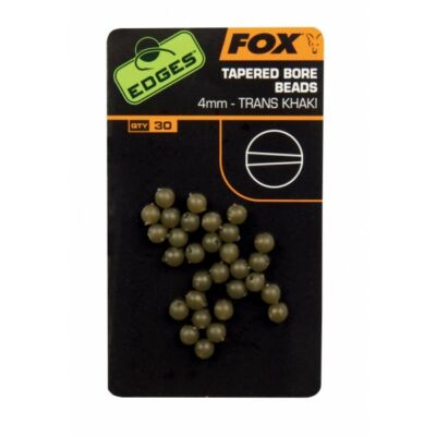 FOX EDGES TAPERED BORE BEADS 4MM TRANS KHAKI