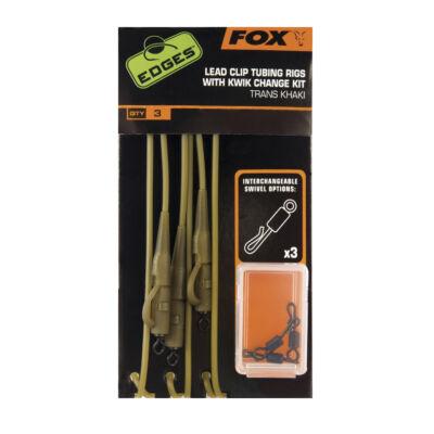 FOX EDGES LEAD CLIP TUBING RIGS WITH KWIK CHANGE SWIVELS KHAKI